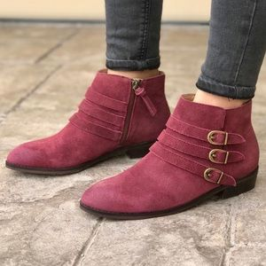 MIB Wine Genuine Suede Triple Buckle Ankle Boots